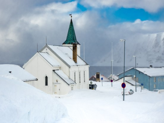Honningsvåg Church in winter light. Photo: Niels Westphal