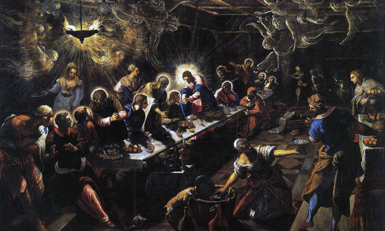 """Det siste måltid"" av Jacopo Tintoretto, Public domain, via Wikimedia Commons"