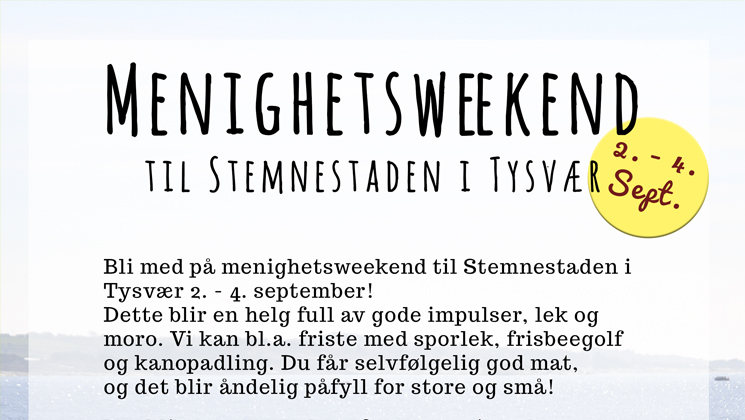 Påmelding til menighetsweekend 2 - 4. september