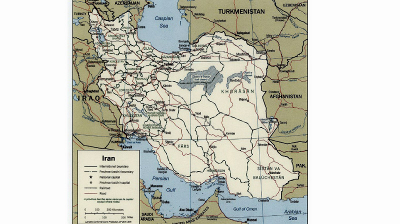 Kart over Iran (Ill.: http://www.map-library.com/)